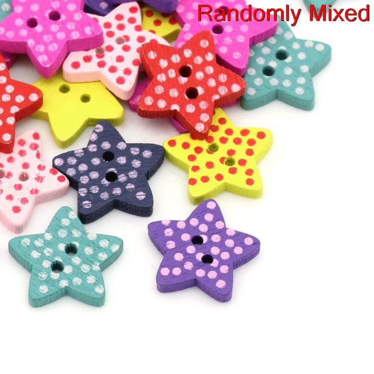 """DoreenBeads Estrellas Mezclan Dos Agujeros Botón de Costura de Madera Scrapbooking Dot Patrón de 16.0mm (5/8 """") x 15.0mm (5/8""""), 20 Unids 2015 nuevo"""