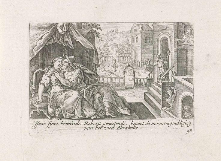 Crispijn van de Passe (I)   Abimelech bespiedt Isaak en Rebekka, Crispijn van de Passe (I), Ysack Greve, 1700 - 1750   Abimelech, koning van de Filistijnen, kijkt uit zijn venster en ziet hoe Isaak Rebekka aan het liefkozen is. In de marge een tweeregelig onderschrift in het Nederlands.