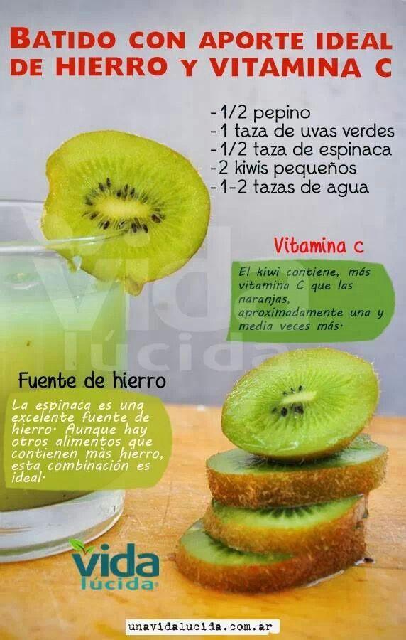 Para reforzar el hierro y vitamina C de tu cuerpo ¿Qué te parece un delicioso batido de kiwi y espinaca?                                                                                                                                                     Más