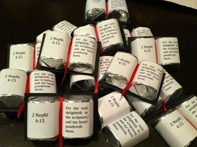 Scripture Nuggets, this gets me thinking... but I would make many different verses and put them in a basket or jar as an encouragement gift, probably could print on address labels and just stick on candy.