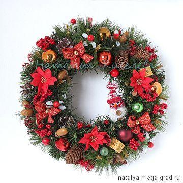 Новогодний венок на дверь или стену со снеговиком - авторские новогодниеи рождественские подарки. МегаГрад - мега-портал авторской ручной работы