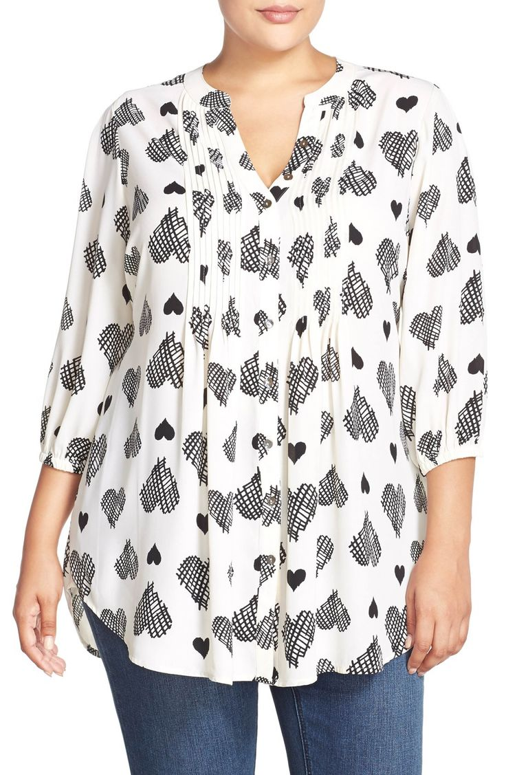 Main Image – Melissa McCarthy Seven7 Belted Heart Print Pintuck Blouse (Plus Siz…