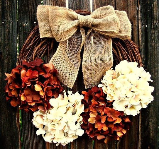 Fall wreath with hydrangeas and burlap: Hydrangea Wreath, Fall Wreath Burlap, Chocolate, Cream Hydrangea, Wreath Idea, Fall Wreaths, Burlap Bows, Rustic Wreath
