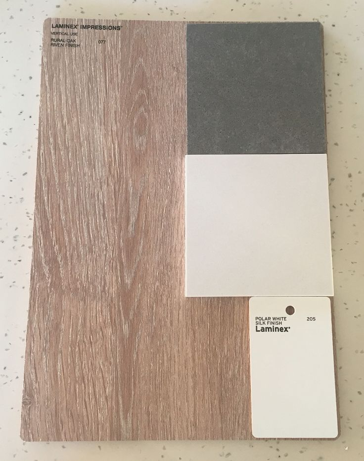 Colour Selection - Laminex Rural Oak Riven Finish, Laminex Polar White Silk, essastone Concrete Pezzato (island) & essastone Saint Moritz