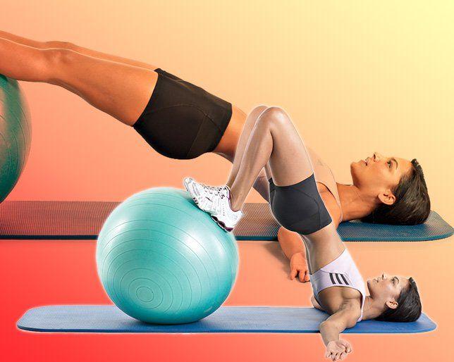 Swiss-Ball Plank  http://www.womenshealthmag.com/fitness/workout-for-klutzes