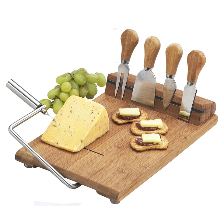 I love cheese boards, but especially love how the serving tools are incorporated.