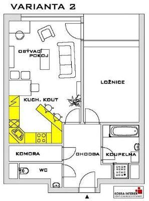 Obývací pokoj s kuchyní - Rekonstrukce bytů Praha