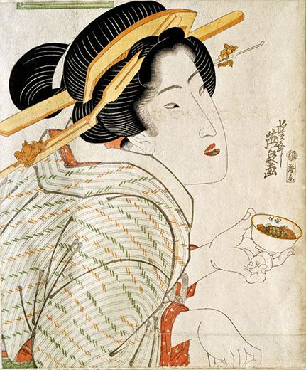 A brief history of happy hour: a 19th-century Japanese geisha holds sake.  Keisai Eisen, Victoria and Albert Museum, London / Art Resource, NY