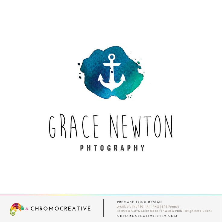 Nautical Premade Logo, Premade Photography Logo,  Watercolor logo, Anchor logo…