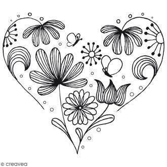 Tampon bois Coeur fleurs - 6,5 cm