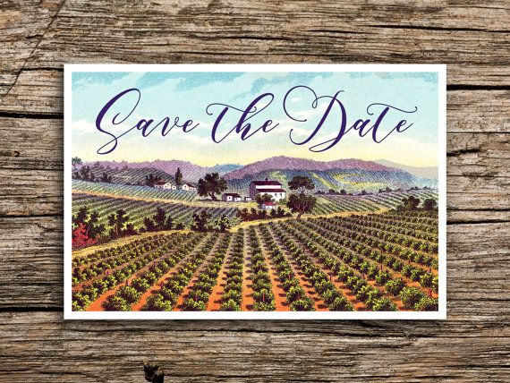 Save the date for your vineyard or winery wedding with our Vintage Vineyard design featuring a picturesque, hand-colored vintage postcard…