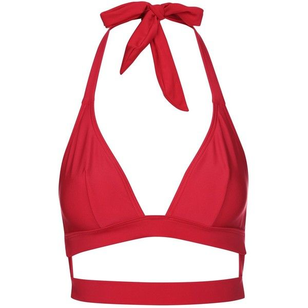 Fuller Bust Triangle Bikini Top by Wolf & Whistle (£24) ❤ liked on Polyvore featuring swimwear, bikinis, bikini tops, red, triangle bikini top, beach bikini, summer bikini, red triangle bikini and red bikini