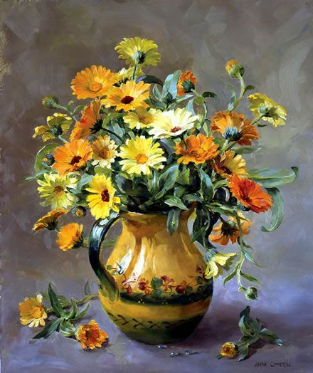 """Limited edition print from the flower painting by Anne Cotterill. Lithographic print on 300gsm archive quality paper using light-fast inks. Limited edition of 100, signed and numbered by the artist. Size 18"""" x 20"""" approx. (46cm x 50.5cm). From an original oil painting. The painting depicts pink, white and red Chrysanthemums in a large stone jar."""
