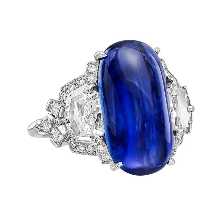 Gorgeous Raymond Yard ring featuring a  10.81 carat Burmese cabochon sapphire and diamonds.  Price tag:  $125,000.  #RaymondYard #SapphireRing #VonGiesbrechtJewels