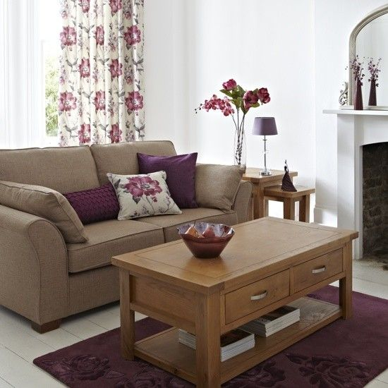 Purple living room interior design ideas plum perfection for Purple and taupe bedroom
