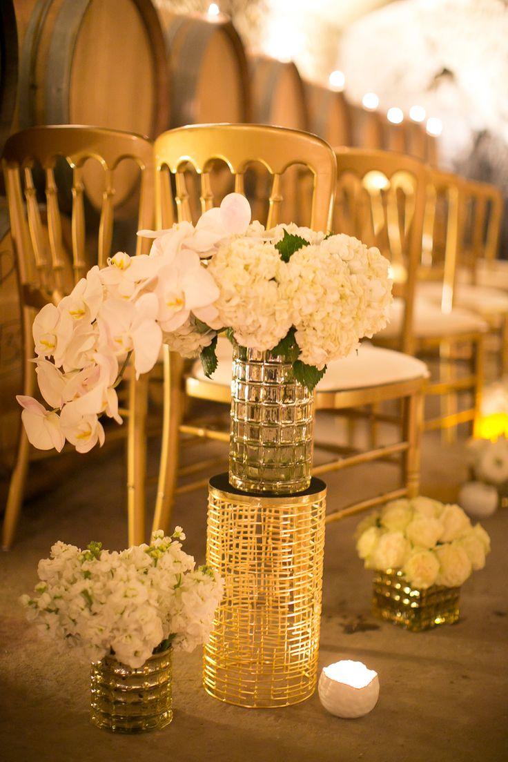 Gold Mercury Glass Cylinder Vase 4.75in