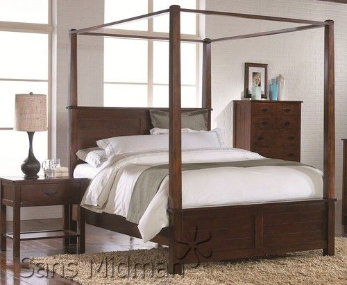 Craftsman Bedroom Set with King Mission Style Canopy Bed and 2 Nightstands New | eBay