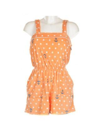 Orange & White Polka Dot Nautical Playsuit   Playsuits & Jumpsuits   Rokit Vintage Clothing