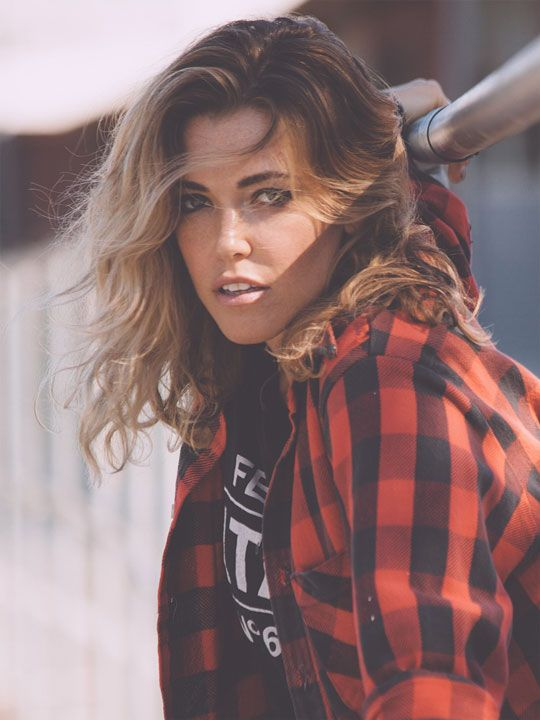 Rachel Platten.  optimized.  red and black plaid shirt
