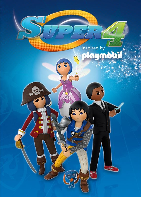 The popular Playmobil® toy line is coming to life on your TV! SUPER 4 follows the fun adventures of Alex the Knight, Ruby the Pirate, Agent Gene and Twinkle the Fairy as they explore distinct island communities, fight evil and save the planet. #StreamTeam #SUPER4onNetflix