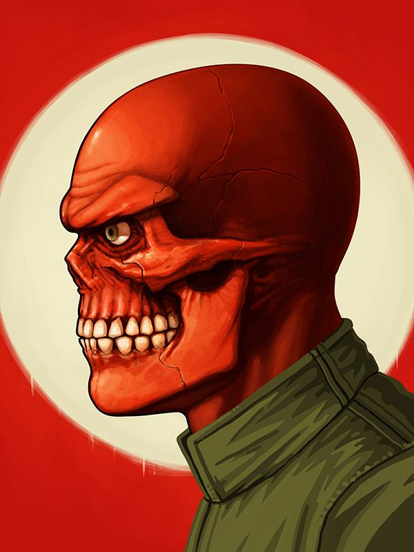 mike mitchell Marvel Character Portrait illustrated poster superhero red skull