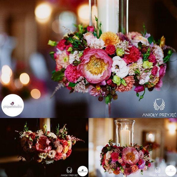 6. Fuchsia Orange Wedding, Centerpiece, Wreath / Wesele fuksjowo-pomarańczowe, Dekoracje stołów, Wianek, Anioły Przyjęć
