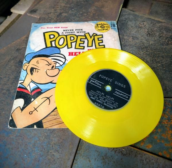 Vintage 1950s Popeye the Sailor Man Yellow Vinyl LP Record