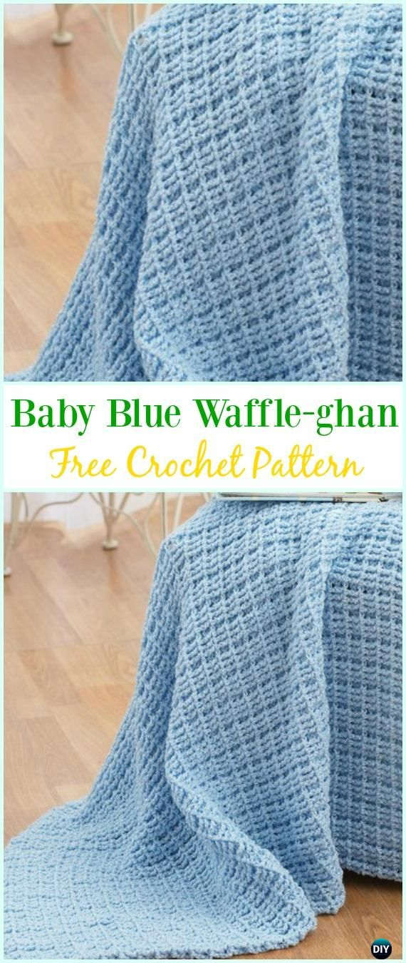 Crochet Baby Blue Waffle-ghan Pattern- Crochet Waffle Stitch Free Patterns & Variations