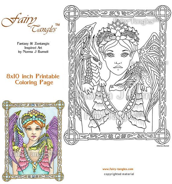 93 best fairy tangles™ coloring for adults images on pinterest ... - Coloring Pages Dragons Fairies