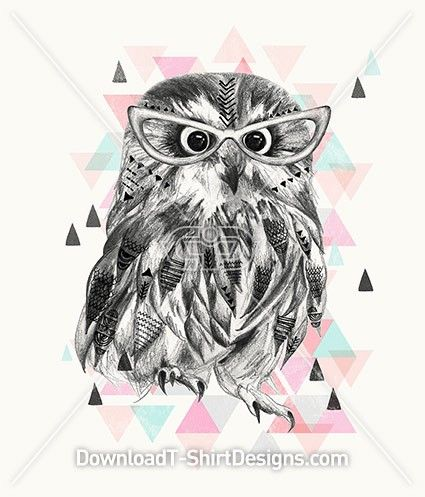 Crafty Illustrated Owl with Glasses. Download this design and print on your T-Shirts or products today at: http://downloadt-shirtdesigns.com/downloadt-shirtdesigns-com-2122869.html