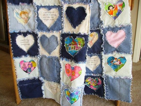 Blue Jean Rag Baby/Child/Lap Quilt van BearyCozyQuilts op Etsy