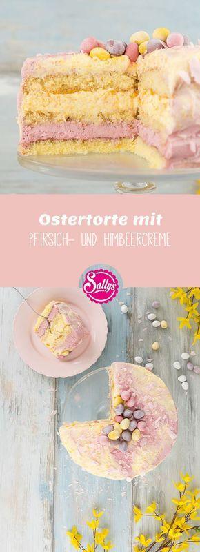 Locker leichte Torte in Pastelltönen mit einer Pfirsich- und Himbeercreme.