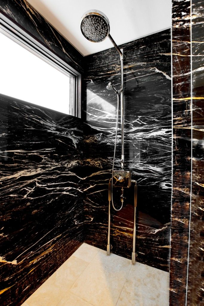 Zebrino Black And Gold Marble Cladded Bathroom Black And Gold