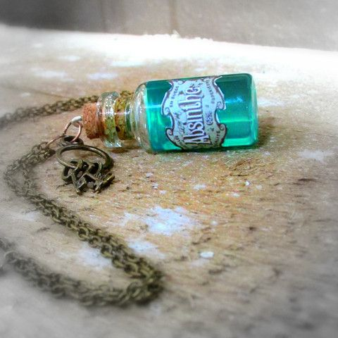 Absinthe Glass Bottle Necklace