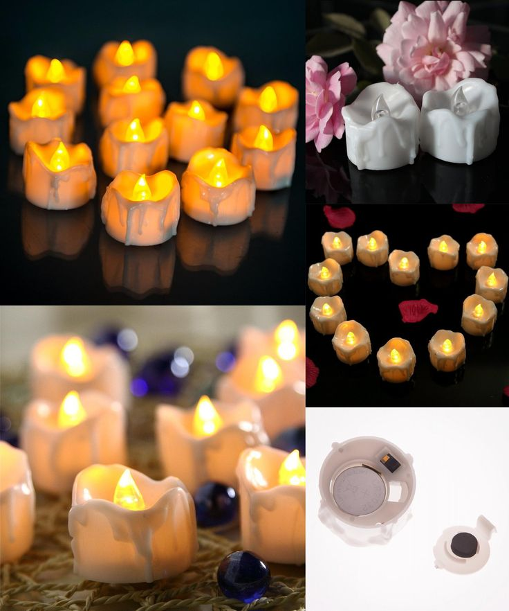 [Visit to Buy] Yellow Flicker With Battery Candles Plastic Led Candles Flameless Tea Lights For Christmas Halloween Wedding Home Decoration #Advertisement