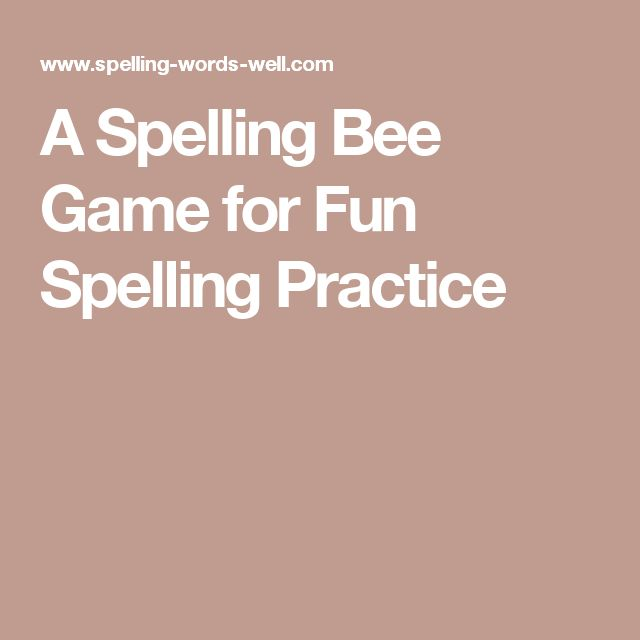 A Spelling Bee Game for Fun Spelling Practice