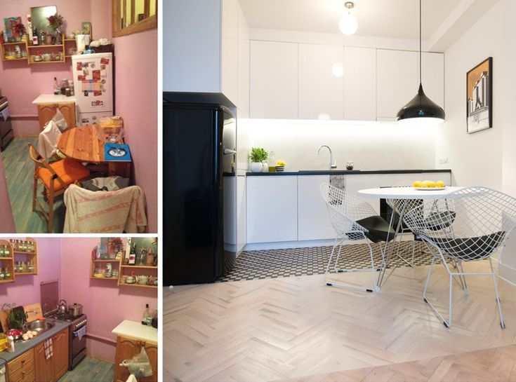 Wohnung renovieren - kleine Küche mit Essbereich im skandinavischen Still