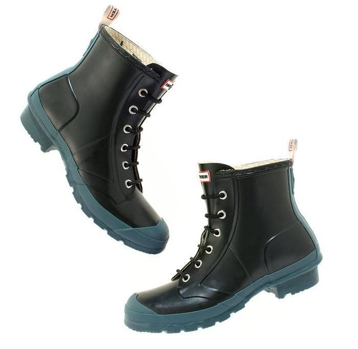 the black hunter brixen boot with a lace front and a blueish gum sole
