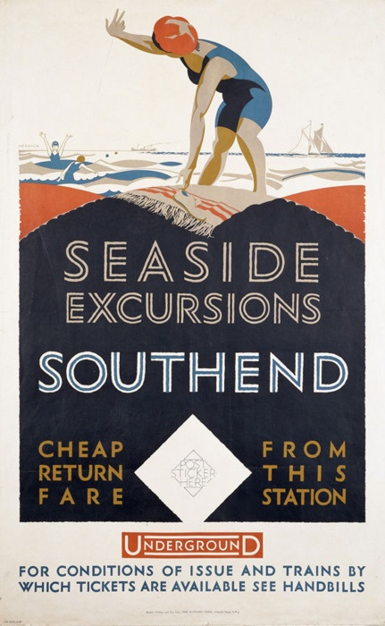 """Southend Seaside Excursions"", poster by F. C. Herrick, England, c.1925. Vintage travel poster www.varaldocosmetica.it"