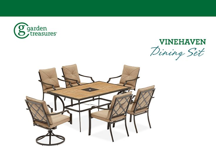 Garden Treasures Vinehaven 40 25 In W X 64 63 In L Rectangle Steel Dining Table Lowes Com Steel Dining Table Dining Table Outdoor Furniture Sets