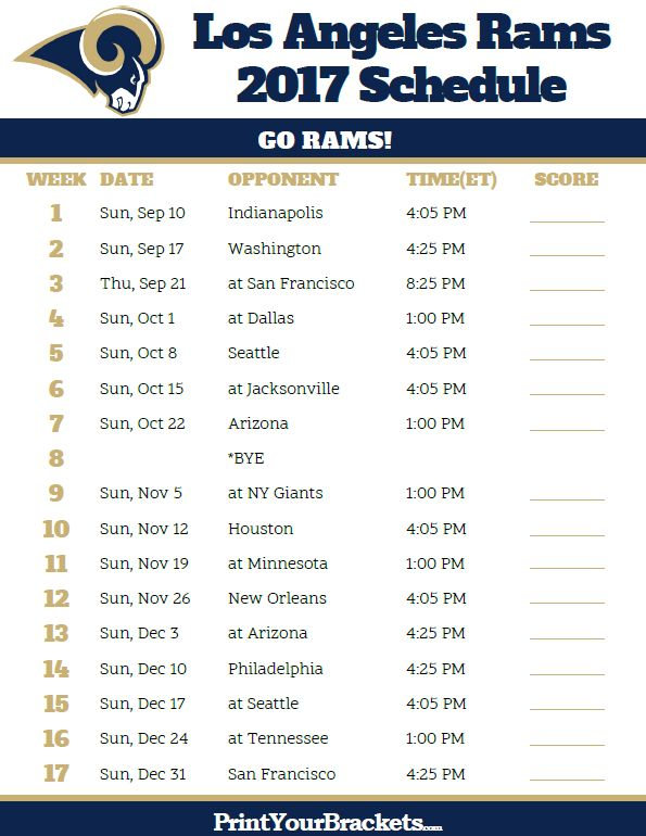2017 Los Angeles Rams Football Schedule