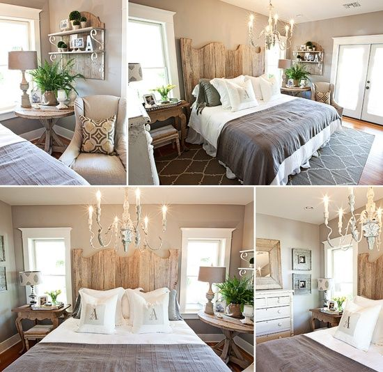 Gray And Brown Bedroom With Rustic Headboard Antique Chandelier Trellis Rug And Mismatched Side