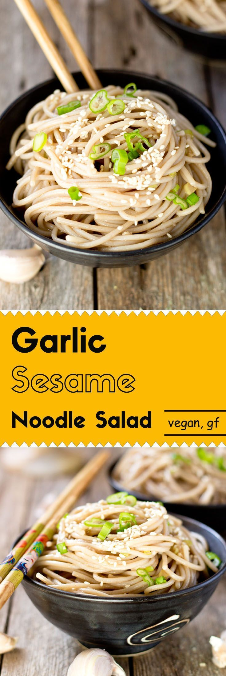 This garlic sesame noodle salad has a robust flavor from the roasted garlic and sesame seeds, at an appetizing and comfortable level. (vegan, gluten-free)