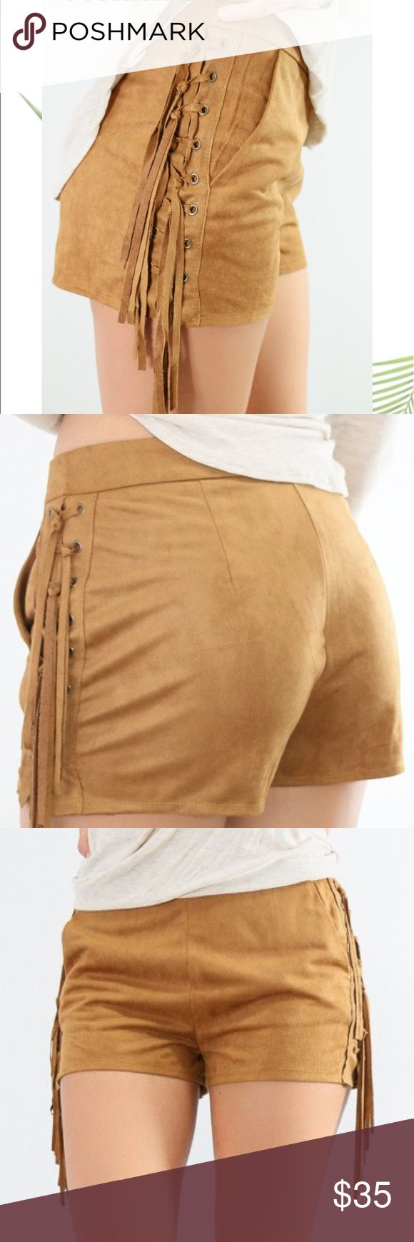 Shorts Desert palm suede camel zip up shorts with braided side fringe. Bought new couldn't return .. Pictures from Amazing Lace. Shorts