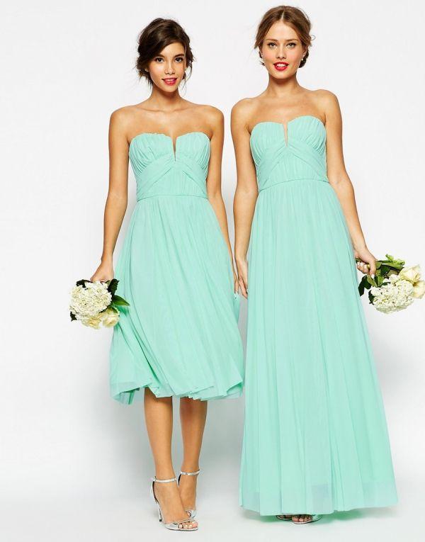 Foto 15 de 20 Vestido corto y diseño largo en verde mint de la colección Asos Wedding | HISPABODAS