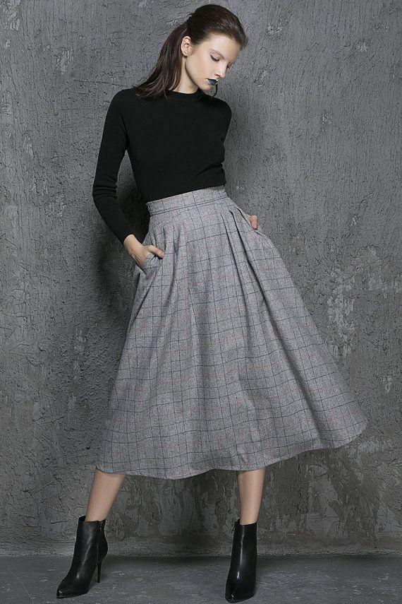 Full Skirt-Full Skirts-Skirts-Skirt-Wool Skirt-Circle Skirt-Circle Skirts-Midi Skirt-Midi Skirts-Grey Wool Skirt-Skater Skirt-1341