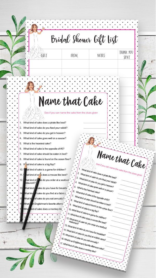 name that cake bridal game great game for wedding showers engagement parties and couples showers too black poke a dots and pink name the cake game