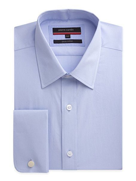 Suit Direct Pierre Cardin Blue Poplin Shirt - PC400745 Tailored Fit Formal Shirt Blue 16