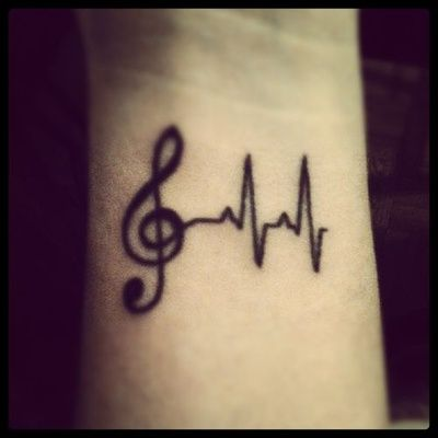 Music + pulse Wrist Tattoo
