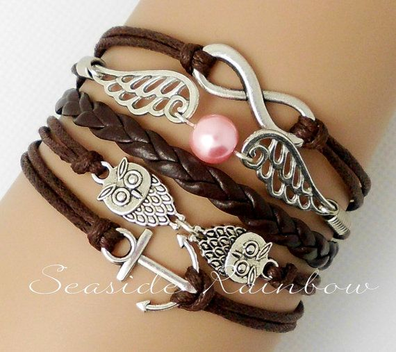 Infinity anchor ring braceletCute owls Pearl by SeasideRainbow,
